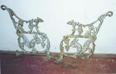 damaged cast iron bench ends